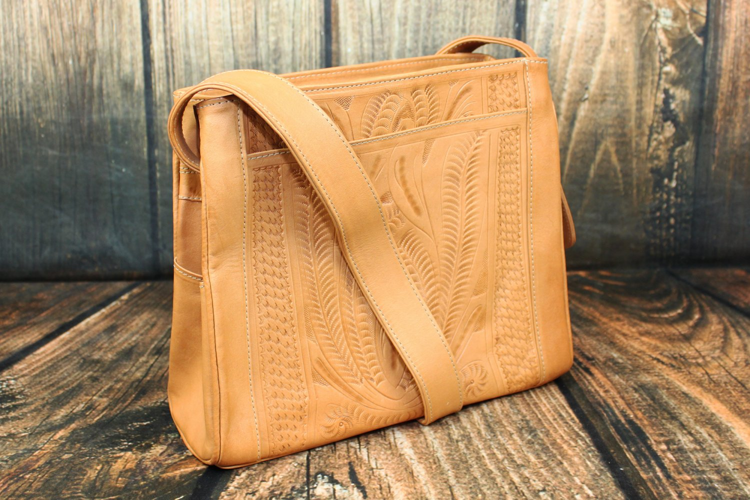 Ropin West Natural Tooled Leather Purse - RW978