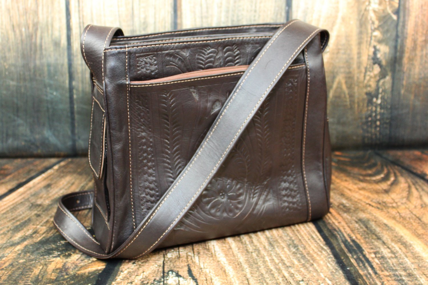 Ropin West Brown Tooled Leather Purse - RW978