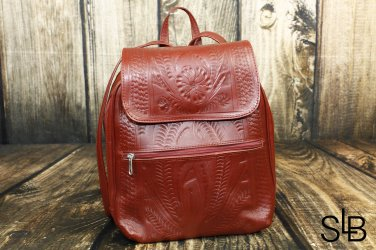 Ropin West Red Tooled Leather Backpack Purse - RW382