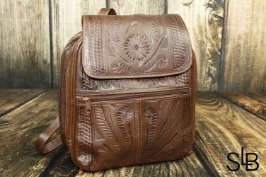 Ropin West Brown Tooled Leather Backpack Purse - RW382