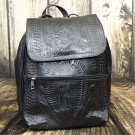 Ropin West Black Tooled Leather Backpack Purse - RW382
