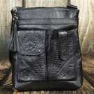 Tooled Leather Concealed Black Handbag - RW8408