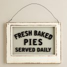 Fresh Baked Pies Sign Glass Wood Decor Bakery Sign Vintage Kitchen Diner Sign