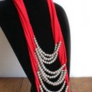 Designs By Amy Red Necklace Scarf With Beads