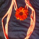 CLassy Cool 1Of A Kind Amys Designs Pink SCARF NECKLACE W/orange Flower