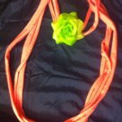 CLassy Cool 1Of A Kind Amys Designs Pink SCARF NECKLACE W/green Flower