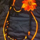 Cool 1 Of A Kind Amys Designs SCARF NECKLACE ,Black,orange & Blue. Orange Flower