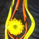 1 Of A Kind Amys Designs SCARF NECKLACE ,Multicolor Cool Yellow Flower!!