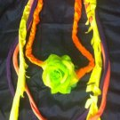 1 Of A Kind Amys Designs SCARF NECKLACE ,Multicolor Cool Green Flower
