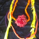 1 Of A Kind Amys Designs SCARF NECKLACE ,Multicolor Cool Pink Flower