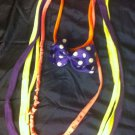 1 Of A Kind Amys Designs SCARF NECKLACE ,Multicolor Purple & White Polka Dot Bow