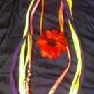 1 Of A Kind Amys Designs SCARF NECKLACE , Multicolor. Cool Red Flower