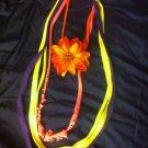 1 Of A Kind Amys Designs SCARF NECKLACE , Multicolor. Cool Orange Flower