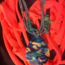 CLassy Cool 1Of A Kind Amys Designs SCARF NECKLACE Pink With Camouflage Charm!!