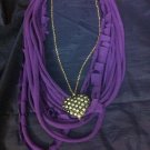 CLassy Cool 1Of A Kind Amys Designs SCARF NECKLACE Purple With Heart