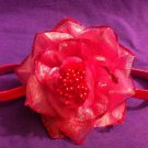 DESIGNS BY AMY BEAUTIFUL PINK FLOWER HEADBAND, PERFECT FOR  SPRING  MADE IN USA
