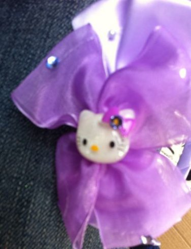 Designs By Amy Adorable hello kitty bow headband Avalible In Blue Or Purple