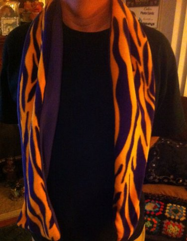 Amys One Of A Kind Handmade Purple/Yellow....Colors of  LSU TIGERS Fleece SCARF