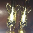 Two (2) Golden Glass Flower Vases the Set Match with an Etched Design