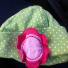 Cute Green & White Polka Dot Gerber Newborn Girl Caps Hat With Pink Flower