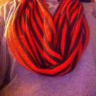 Designs By Amy One Of A Kind Handmade Infinity Orange &Brown Stripe Scarf