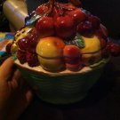 Classic Hand Crafted Covered Bowl Serving Dish with Fruit