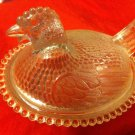 "Vintage Clear Glass Hen on Nest Candy Dish Chicken Basket Rooster 7"" x 5 1/2"" JJ"