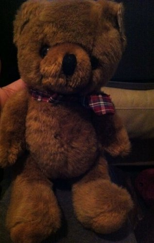 Beautiful HTF Fully Jointed Brown Plush Teddy Bear w/Plaid Bow