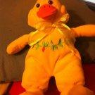 Duck Toy Yellow Orange Pink Flowers Sitting Soft Plush Bean Bag