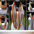 Designs By Amy One Of A Kind  Scarf Necklace Rainbow Cotton Fabric~Handmade