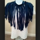 Designs By Amy One Of A Kind  Scarf~Rare Navy Fringe Cotton Fabric~Handmade