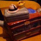 TRINKET BOX Teapot Figural Toolbox Or Trunk Brown