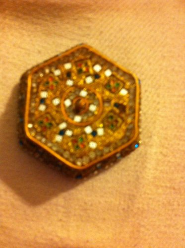Rare Vintage Ornate Lidded Resin Trinket Box, Gold with Se-quines, Made in India
