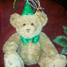 "2006 Ty HAPPY BIRTHDAY 13"" Plush Bear w/ Green Hat Beanie Buddies Buddy  ~EC"