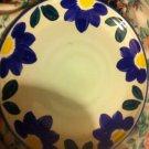 INTERNATIONAL TABLEWORKS DINNER PLATE 'BLUE NAPOLI' 153 BLUE YELLOW FLOWERS