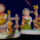 vintage Beautiful Boy And Girl Bisque procelain STATUES