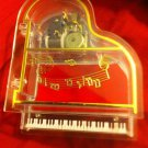 VINTAGE IN BOX NOVELTY PIANO JEWELRY & MUSIC BOX CLEAR LUCITE PLASTIC