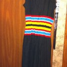 Vintage Dress Intl Garment Workers Union Sz 10 Black Sundress With Stripes