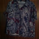 Women's Alfred Dunner Multi color Paisley Button Down Top Shirt Blouse sz 16