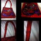 NWOT Handmade Red Hat Hatter Tote Bag Purse Handbag Holder Red/Purple