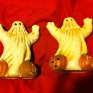 Set Of Halloween Ghost w/Jack O Lantern Porcelain Tealight Burners 5 1/2 In Tall