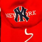 NEW YORK YANKEES black & red BASEBALL CAP bent brim NEW embroidered ADJUSTABLE