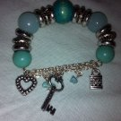 Light Blue Silver Beaded Key/padlock/heart Charm Braclet For Small Wrist/girl