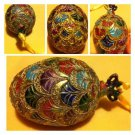 """Cloisonne Inlaid Enamel Multicolor Egg Ornament Gold Plated Hand Work approx 4"""""""