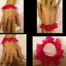 New Handmade Pink Purple Silver Grapes Sparkle Ponytail Holder Bracelet Hair Acc