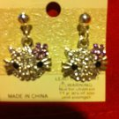 KITTY Earrings Pierced Crystals Silver Tone Hello Purple Flower Cat Kitten New