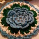 Vintage Crochet Red, Green, Black, and White Potholder / Hot Pad