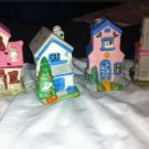 Lot Of 4 HALLOWEEN HAUNTED TEALIGHT HOUSE VILLAGE CANDLE HOLDER
