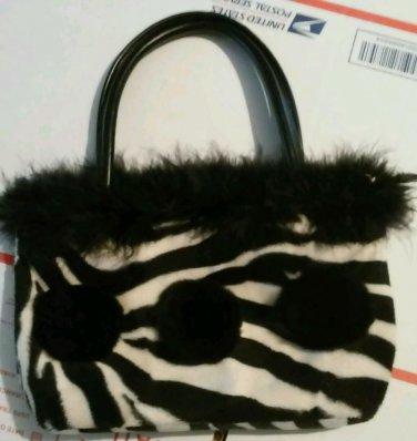 Adorable Fun Wild Animal Print Purse Faux Fur Top Furry