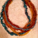 Comfort Cross MIX COLORS OF TURQUOISE AND AMBER  6 Strand NECKLACE